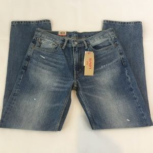 Levis 514 Distressed Straight Fit Blue Jeans 32x32